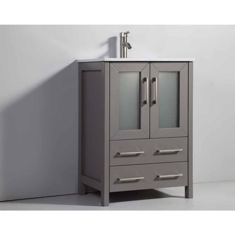Vanity Art Brescia 24 in. W x 18 in. D x 36 in. H Bath Vanity in Grey with Vanity Top in White and Mirror VA3024G - AGM Home Store LLC