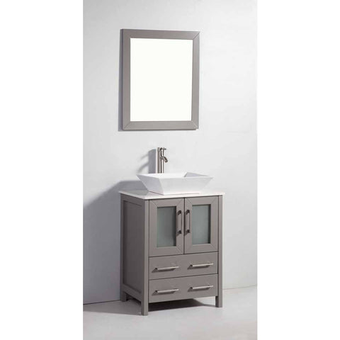 Vanity Art Ravenna 24 in. W x 18.5 in. D x 36 in. H Bathroom Vanity in Grey with Single Basin Top in White Ceramic and Mirror VA3124G - AGM Home Store LLC