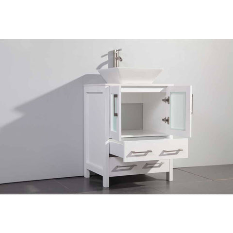 Vanity Art Ravenna 24 in. W x 18.5 in. D x 36 in. H Bathroom Vanity in White with Single Basin Top in White Ceramic and Mirror VA3124W - AGM Home Store LLC