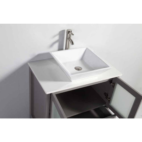 Vanity Art Ravenna 30 in. W x 18.5 in. D x 36 in. H Bathroom Vanity in Grey with Single Basin Top in White Ceramic and Mirror VA3130G - AGM Home Store LLC