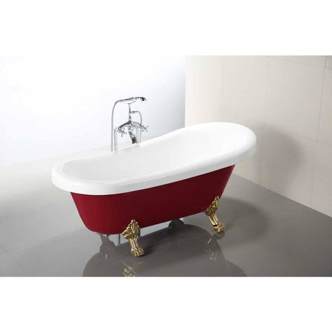Laval 67 in. Acrylic Claw Foot Freestanding Bathtub in Red and White VA6311-RL - AGM Home Store LLC