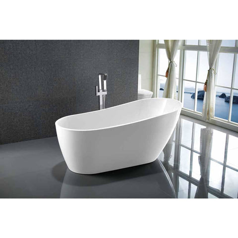 Colombes 67 in. Acrylic Flatbottom Freestanding Bathtub in White VA6522 - AGM Home Store LLC