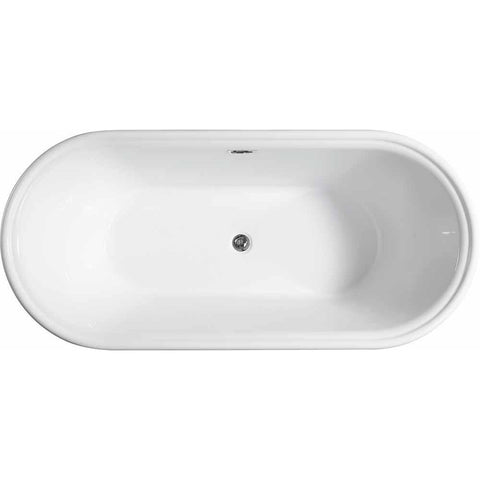 Versailles 67 in. Acrylic Flatbottom Freestanding Bathtub in White VA6610-L - AGM Home Store LLC