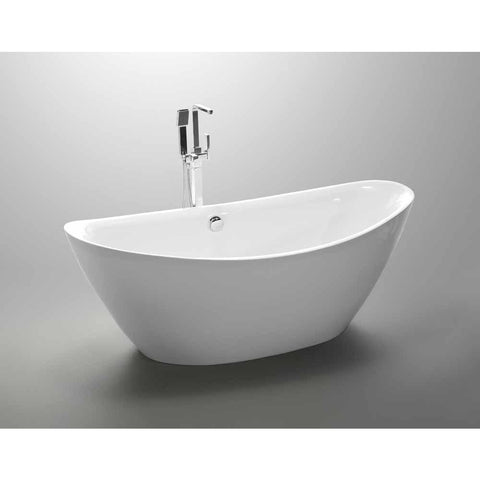 Valence 71 in. Acrylic Flatbottom Freestanding Bathtub in White VA6807 - AGM Home Store LLC