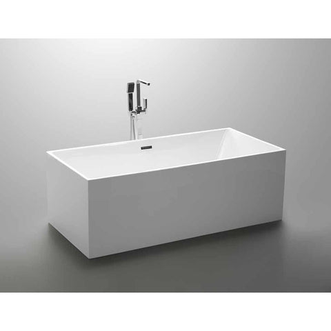 Talence 59 in. Acrylic Flatbottom Freestanding Bathtub in White VA6813B - AGM Home Store LLC