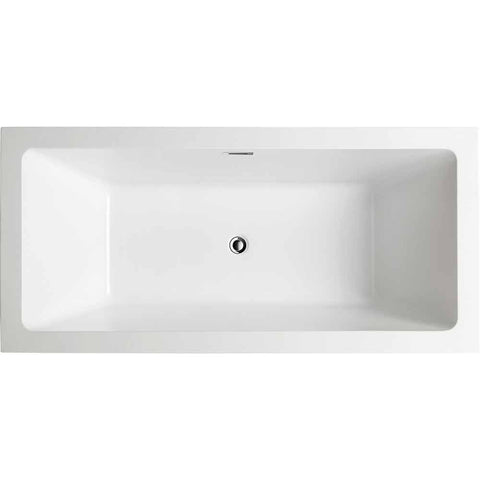 Tarbes 59 in. Acrylic Flatbottom Freestanding Bathtub in White VA6814 - AGM Home Store LLC