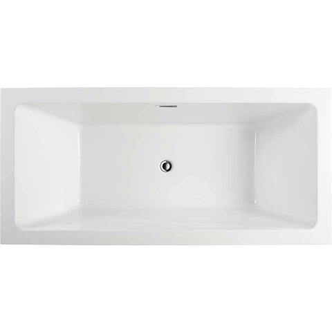 Strasbourg 59 in. Acrylic Flatbottom Freestanding Bathtub in White VA6817 - AGM Home Store LLC