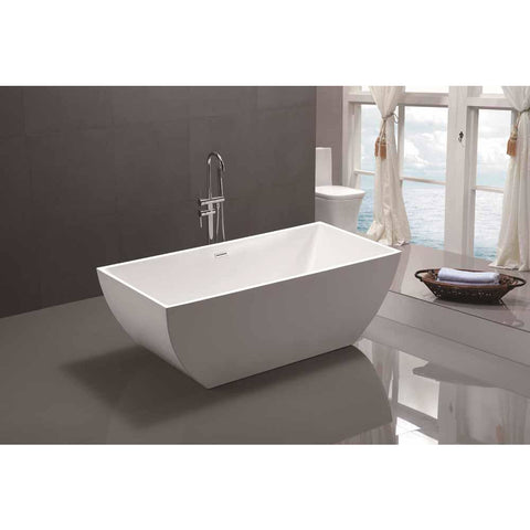 Montpellier 59 in. Acrylic Flatbottom Freestanding Bathtub in White VA6821 - AGM Home Store LLC