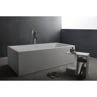 Ideavit Solidvitas Rectangular Freestanding Bathtub in White Matte Solid Surface PS-ID277808  PS-ID284453 - More Size Options - AGM Home Store LLC