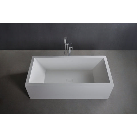 Ideavit Solidvitas Rectangular Freestanding Bathtub in White Matte Solid Surface PS-ID277808  PS-ID284453 - More Size Options
