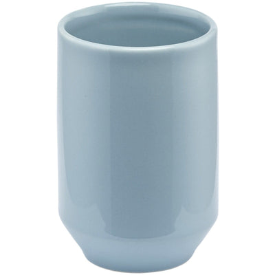 Vita Blue Ceramic Bathroom Toothbrush Holder Standing Toothpaste Tumbler, Round - AGM Home Store LLC
