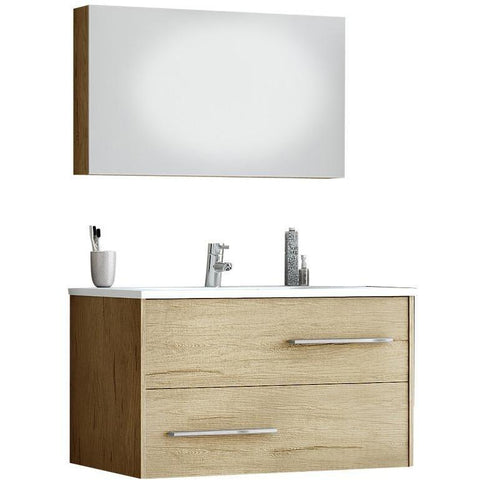 DP Fancy Wall Bathroom Vanity Cabinet Set Single Sink, PL Wood Finish Laminated - AGM Home Store LLC