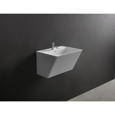 "Ideavit 24"" Wall Mounted Single Sink Bathroom Vanity, White Solid Surface - AGM Home Store LLC"