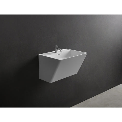 "Ideavit 24"" Wall Mounted Single Sink Bathroom Vanity, White Solid Surface"