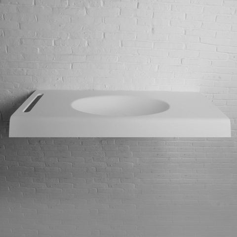 "Ideavit 47"" Wall Mounted Single Sink Bathroom Vanity with Towel Bar, White Solid Surface"