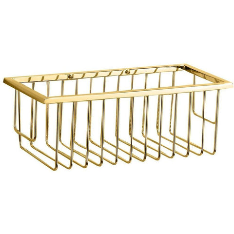 WA WND 1 Brass Bathroom Shower Caddy Basket for Shampoo, Soap, Conditioner - AGM Home Store LLC