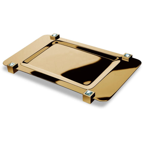 Moonlight Square Gold Bathroom Tray W/ White Swarovski Crystals - AGM Home Store LLC