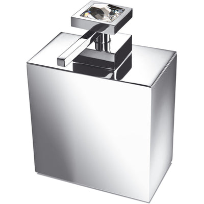 Moonlight Square Chrome Soap Dispenser W/ Swarovski Crystals - White/ Black - AGM Home Store LLC