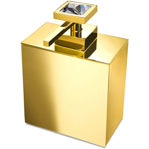 Moonlight Square Gold Soap Dispenser W/ Transparent Swarovski Crystals - AGM Home Store LLC
