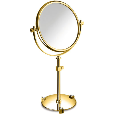 Moonlight Gold Table 5x Circular Magnifying ADJ Mirror W/ Swarovski Crystals - White/ Black - AGM Home Store LLC