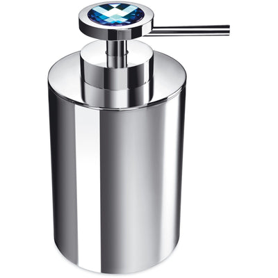 Moonlight Round Chrome Soap Dispenser W/ Swarovski Crystals - White/ Blue - AGM Home Store LLC