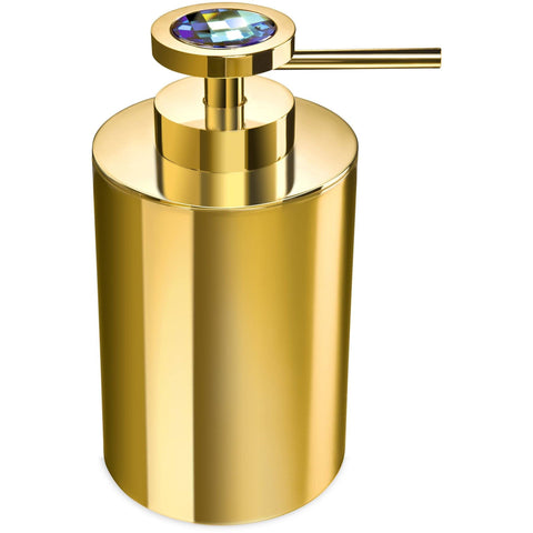 Moonlight Round Gold Soap Dispenser W/ Swarovski Crystals - White/ Blue - AGM Home Store LLC