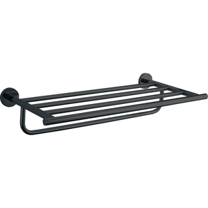 DWBA Self Adhesive Matte Black 19.7 Inch Towel Shelf Rack With Towel Bar Holder - AGM Home Store LLC