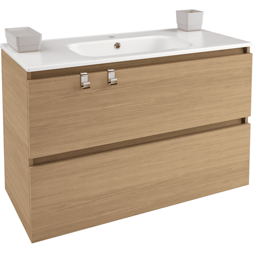 Box 40 in. Wall Mounted Bathroom Vanity 2 Drawers Cabinet with Porcelain Washbasin - AGM Home Store LLC