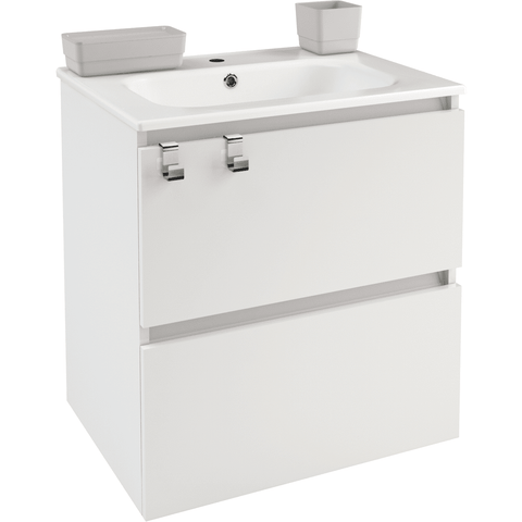 Box 24 in. Wall Mounted Bathroom Vanity 2 Drawers Cabinet with Porcelain Washbasin - AGM Home Store LLC
