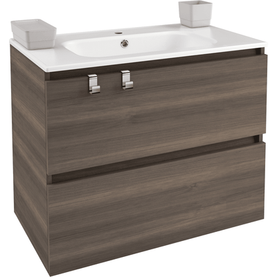 Box 31 in. Wall Mounted Bathroom Vanity 2 Drawers Cabinet with Porcelain Washbasin - AGM Home Store LLC