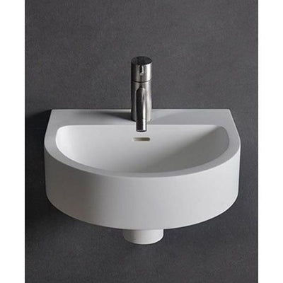 "Ideavit 15"" Small Wall Mounted Single Sink Bathroom Vanity, White Solid Surface - AGM Home Store LLC"