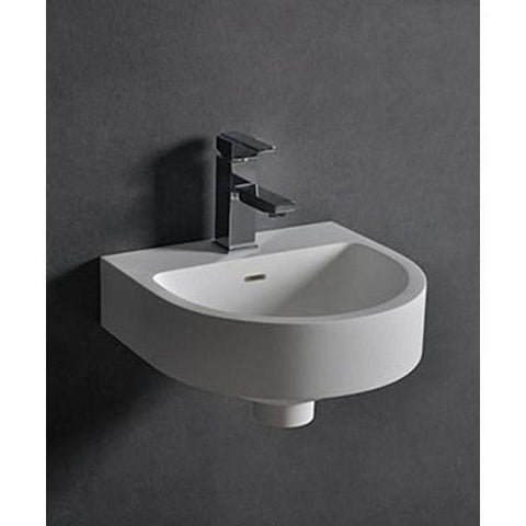 "Ideavit 15"" Small Wall Mounted Single Sink Bathroom Vanity, White Solid Surface"