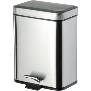 DI Square Step Trash Can, Stainless Steel Wastebasket W/ Lid - Brass Chrome 5L - AGM Home Store LLC