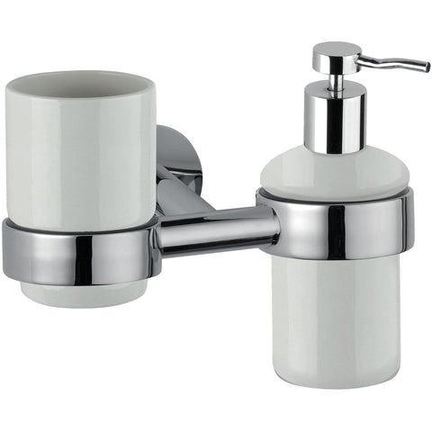DI Hilton Wall Ceramic Toothbrush Toothpaste Holder & Soap Lotion Dispenser - AGM Home Store LLC