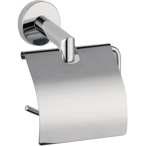 DI Hilton Wall Toilet Paper Holder W/ Lid Cover Tissue Roll Dispenser - Chrome - AGM Home Store LLC