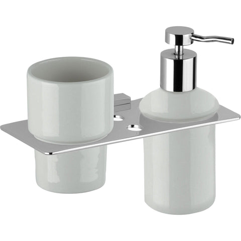 DI NY Wall Ceramic Toothbrush Toothpaste Holder & Soap Lotion Dispenser Set - AGM Home Store LLC