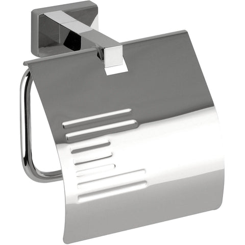 DI NY Wall Toilet Paper Holder W/ Lid Cover Tissue Roll Dispenser - Brass Chrome - AGM Home Store LLC