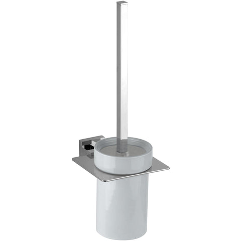 DI NY Wall Mounted Toilet Brush Bowl & Holder Set - Polished Chrome
