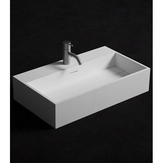 Solidpure 24 in. Wall Mounted Single Sink Bathroom Vanity, White Solid Surface - AGM Home Store LLC