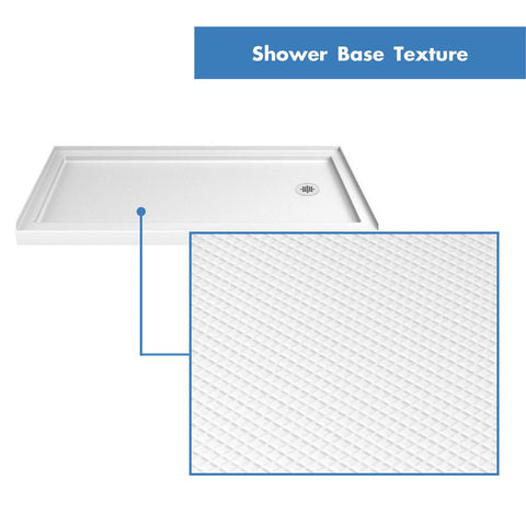 SlimLine 34 in. D x 60 in. W x 2 3/4 in. H Right Drain Single Threshold Shower Base in White - AGM Home Store LLC