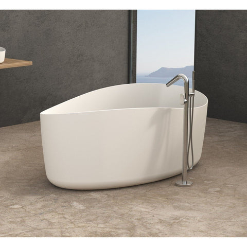 Solidharmony 69 x 39 in. Freestanding Bathtub in White Matte Solid Surface - AGM Home Store LLC