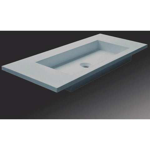 Solidtech 35 / 47 in. Vanity With Rectangular Basin - Single Sink, Solid Surface - AGM Home Store LLC