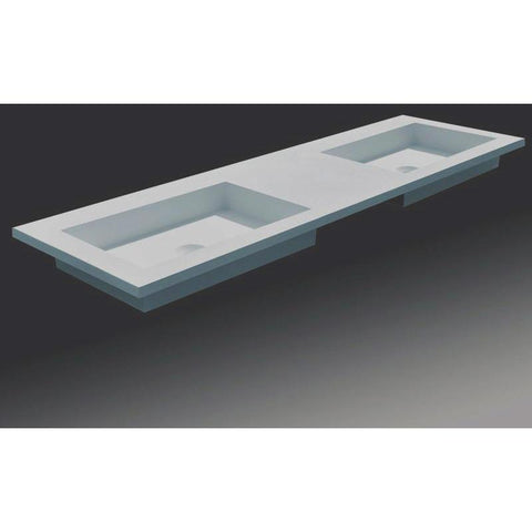 Solidtech 59 in. Vanity With 2 Rectangular Basin - Double Sink, Solid Surface - AGM Home Store LLC