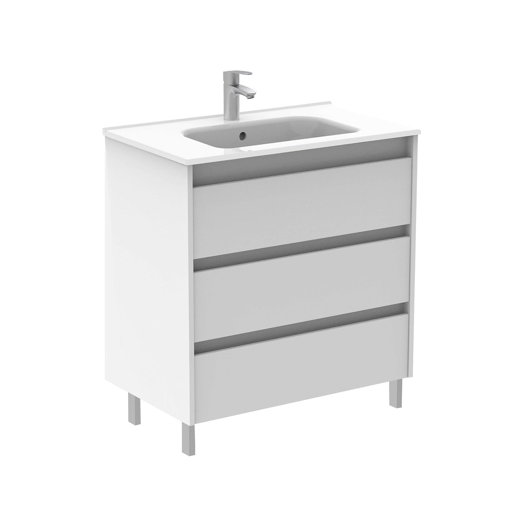 Sku 125480 123343 Item 125480 123343 Brand Royo Sansa 32 Inches Modern Standing Bathroom Vanity 3 Drawer White With Basin Bathroom Vanities And Sink Consoles Royo White 1200 00 1300 00 Free Standing Engineered Wood Ceramic 30 To 34 Inches
