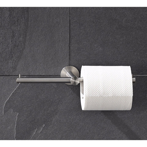 PSBA Wall Double Toilet Paper Holder Tissue Roll Dispenser NO Lid Steel Matte - AGM Home Store LLC