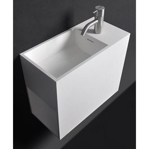 "Ideavit 9"" Wall Mounted Single Sink Bathroom Vanity with One Shelf, White Solid Surface"