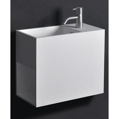 "Ideavit 9"" Wall Mounted Single Sink Bathroom Vanity with One Shelf, White Solid Surface - AGM Home Store LLC"