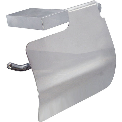 DI Wire Wall Toilet Paper Holder W/ Lid Cover Tissue Dispenser - Brass Chrome - AGM Home Store LLC