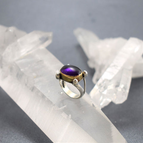 amethyst ring on quartz crystal