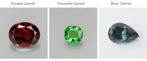 Pryope, Tsavorite and BLue Garnet Gemstones
